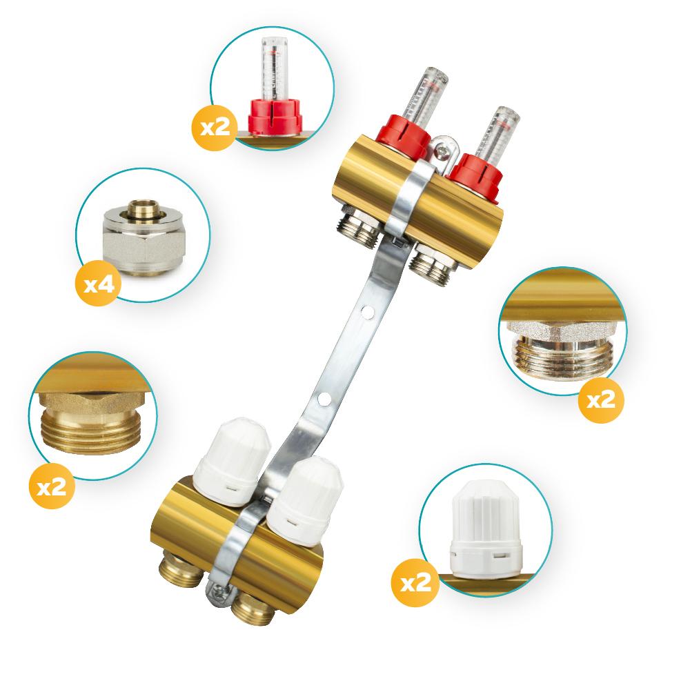 Brass 2 x heating circuit distributor for underfloor heating with entlüftergruppe